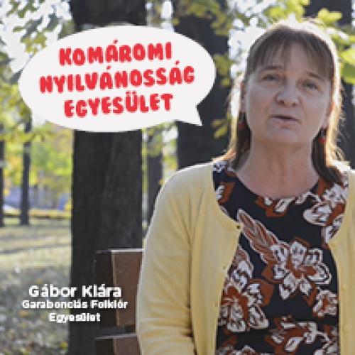 A Komáromi Nyilvánosság Egyesületet ajánlja Gábor Klára